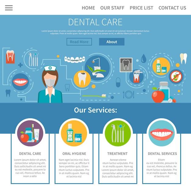Conception De Pages De Soins Dentaires Vecteur gratuit