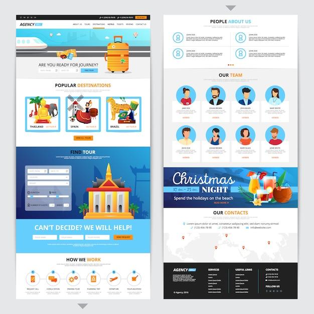 Conception de pages web d'agences de voyages avec symboles de destination populaire illustration vectorielle isolé plat Vecteur gratuit