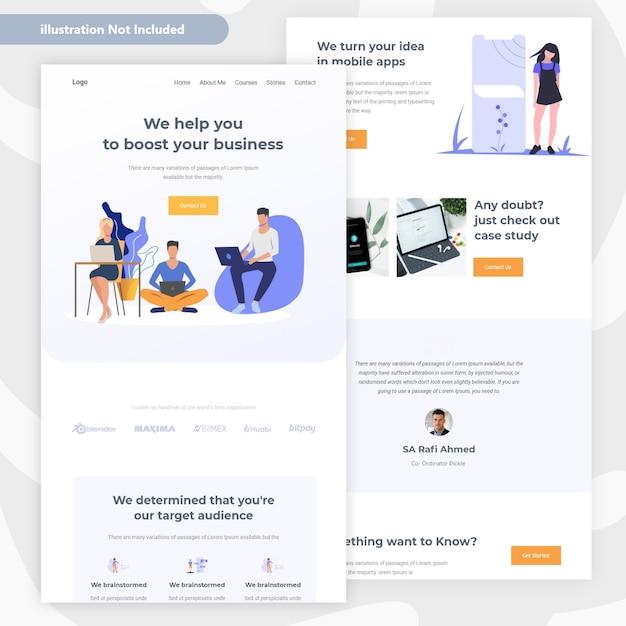 Conception de pages web commerciales et financières Vecteur Premium