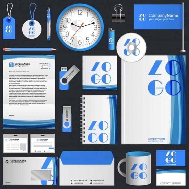 Conception de papeterie d'affaires bleu Vecteur gratuit