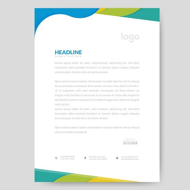 Conception de papier à en-tête coloré Vecteur Premium