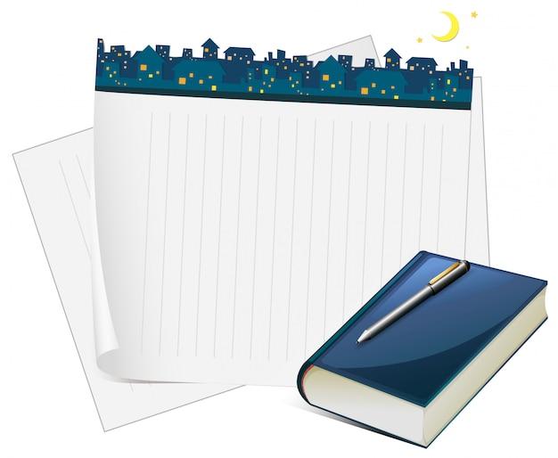 Conception de papier avec vue sur la ville la nuit Vecteur gratuit