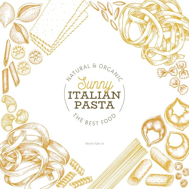 Conception de pâtes italiennes. illustration de nourriture vecteur dessiné à la main. style gravé. pâtes rétro différentes sortes. Vecteur Premium