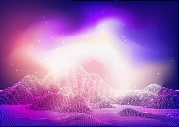 Conception De Paysage Filaire Abstrait Avec Ciel Galaxie Vecteur gratuit