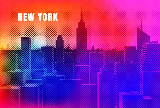 Conception De Paysage Urbain De New York Vecteur Premium