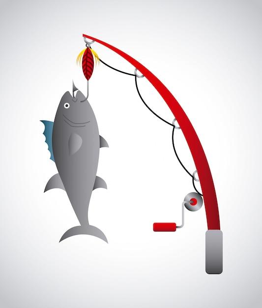 Conception de la pêche Vecteur Premium