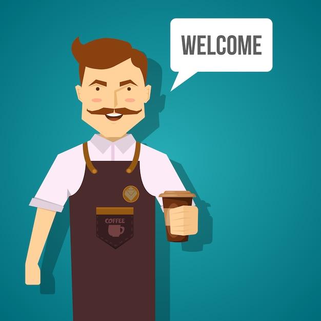 Conception De Personnage De Barista Avec Un Homme Moustachu Souriant En Tablier Marron Avec Café Vecteur gratuit