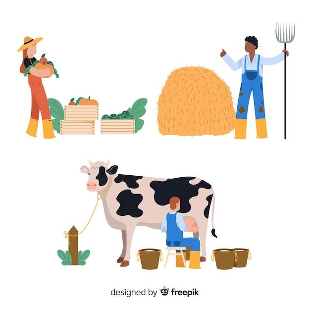 Conception de personnage de travailleurs agricoles Vecteur gratuit
