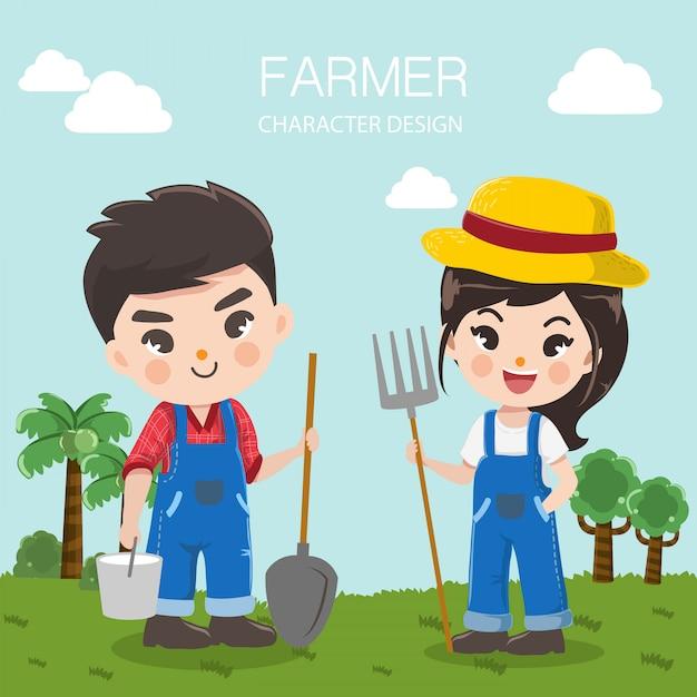 Conception des personnages pour les fermes d'élevage avec garçon et fille d'agriculteurs Vecteur Premium