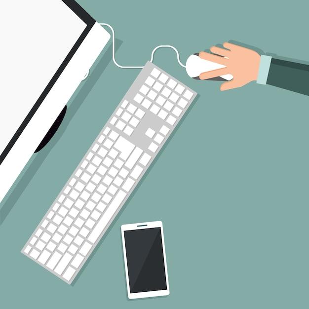 Conception de personne travaillant sur votre ordinateur en vue de dessus Vecteur Premium