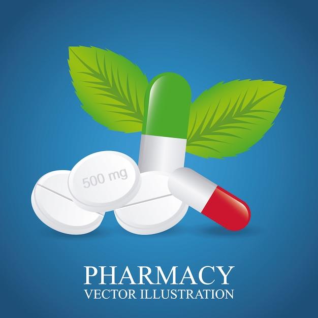 Conception de pharmacie verte Vecteur gratuit