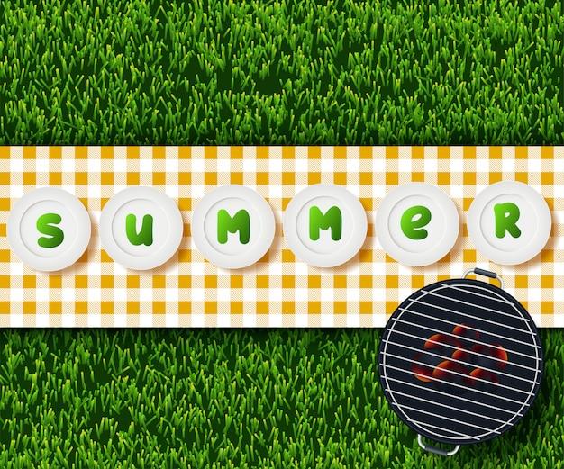 Conception de pique-nique d'été Vecteur Premium