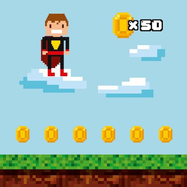 Conception de pixels de jeux vidéo Vecteur Premium