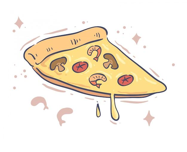 Conception De Pizza De Style Dessin Animé. Illustration Vectorielle Pizza Vecteur Premium