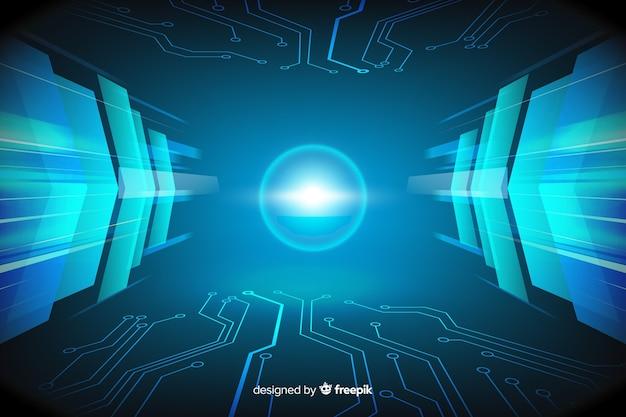 Conception plate de fond de tunnel de lumière technologique Vecteur gratuit