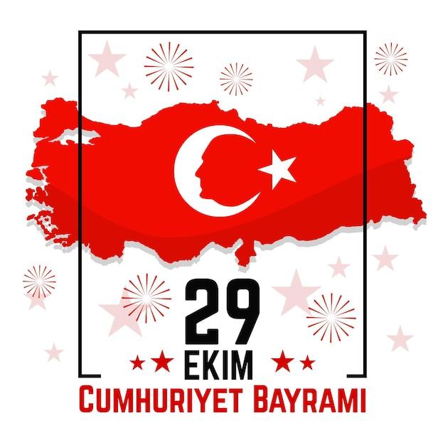 Conception Plate De L'indépendance Turque Nationale 29 Ekim Vecteur Premium