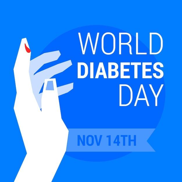 Conception Plate De La Journée Mondiale Du Diabète Avec Goutte De Sang Vecteur Premium