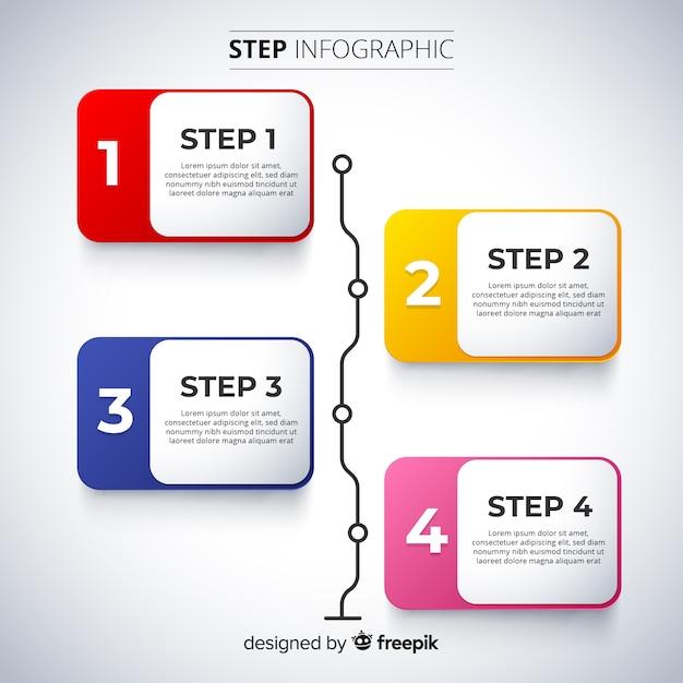 Conception plate de modèle étapes infographie Vecteur gratuit