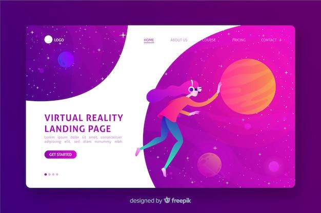 Conception plate de pages de destination de réalité virtuelle Vecteur gratuit