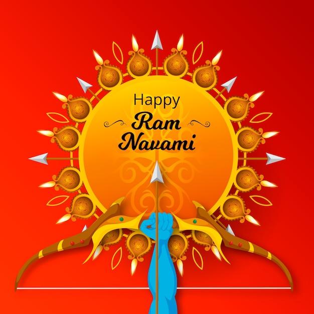 Conception Plate De Ram Navami Célébration Vecteur Premium