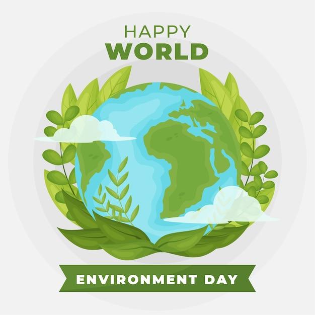Conception Plate Verte De La Journée Mondiale De L'environnement Vecteur gratuit