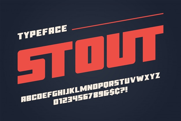 La conception de police d'affichage lourd stout, alphabet, police de caractères, lettres Vecteur Premium