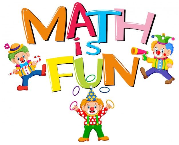 La conception de police pour les mots mathématiques est amusant avec les clowns Vecteur Premium