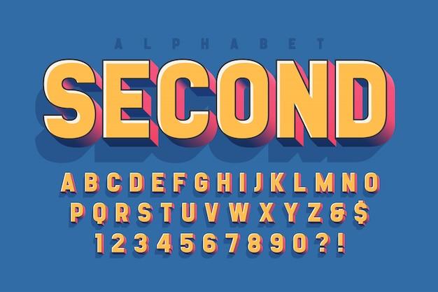 Conception de polices d'affichage 3d, alphabet, lettres et chiffres Vecteur Premium