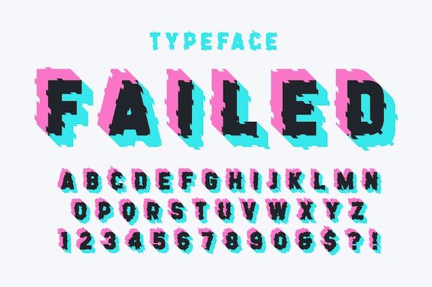 Conception de polices d'affichage glitched, alphabet, police de caractères, lettres Vecteur Premium