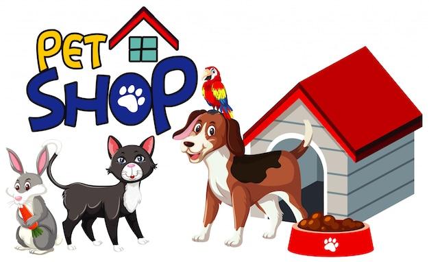 Conception De Polices Pour Animalerie Avec De Nombreux Animaux Mignons Vecteur Premium