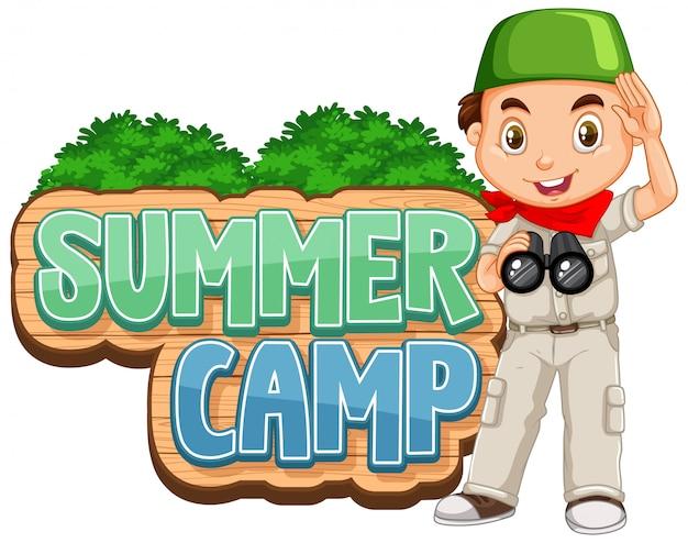 Conception De Polices Pour Camp D'été Avec Un Enfant Mignon Au Parc Vecteur gratuit