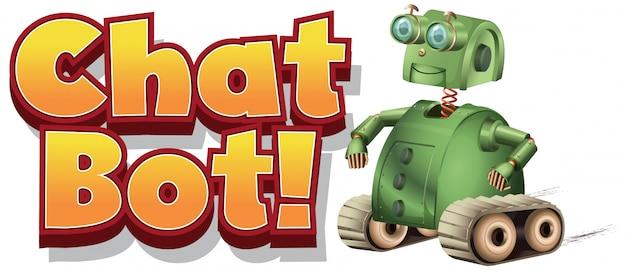 Conception De Polices Pour Chat Bot Avec Robot Vert Sur Fond Blanc Vecteur gratuit