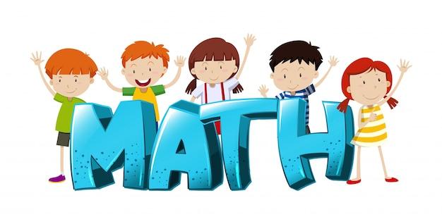 Conception de polices pour mathématiques avec illustration de garçons et filles Vecteur gratuit