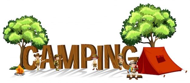 Conception de polices pour mot camping avec enfants et tente Vecteur gratuit
