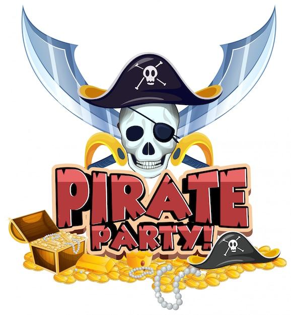 Conception De Polices Pour Le Mot Pirate Party Avec Pirate Et Or Vecteur Premium