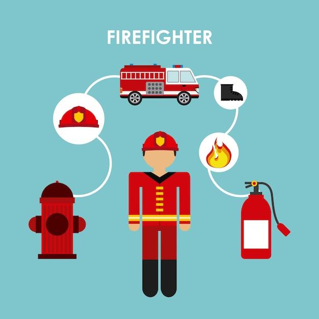 Conception de pompier Vecteur Premium