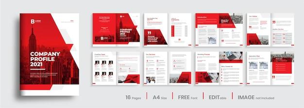 Conception De Profil D'entreprise Créative Avec Des Formes De Couleur Rouge Vecteur Premium