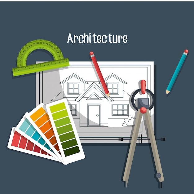 Conception de projet d'architecture Vecteur gratuit