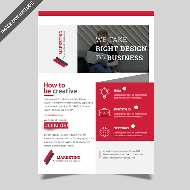 Conception De Prospectus Commerciaux Rouge Vecteur Premium