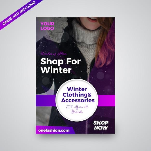 Conception de prospectus de vente de vêtements d'hiver Vecteur Premium