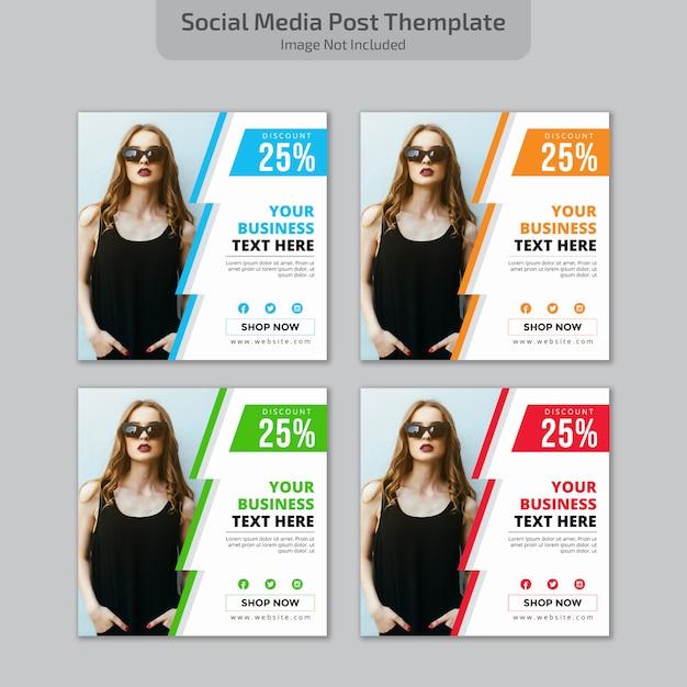 Conception de publications sur les médias sociaux Vecteur Premium
