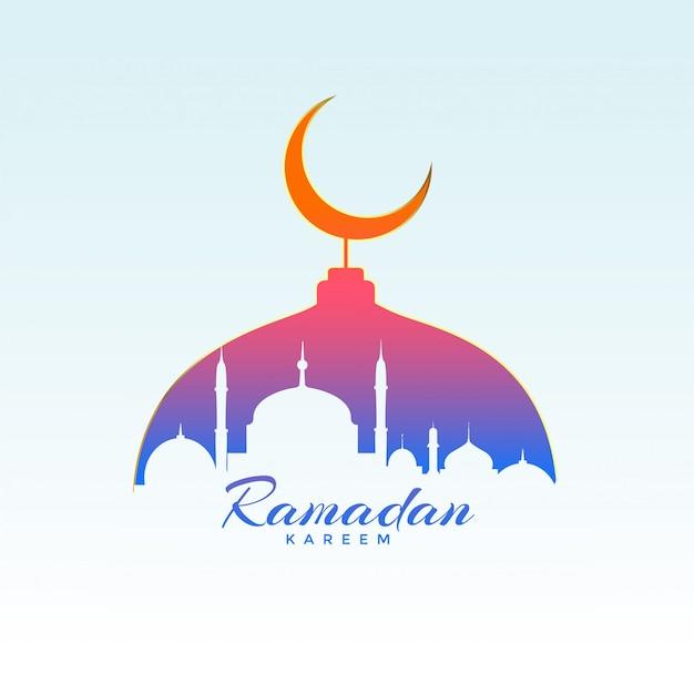 Conception De Ramadan Kareem Avec La Silhouette De La Mosquée Vecteur gratuit