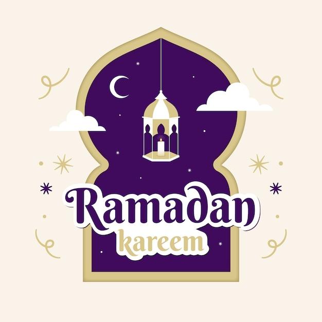 Conception De Ramadan Violet Plat Vecteur gratuit