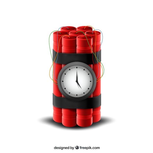 Conception réaliste de bombe à retardement rouge Vecteur gratuit