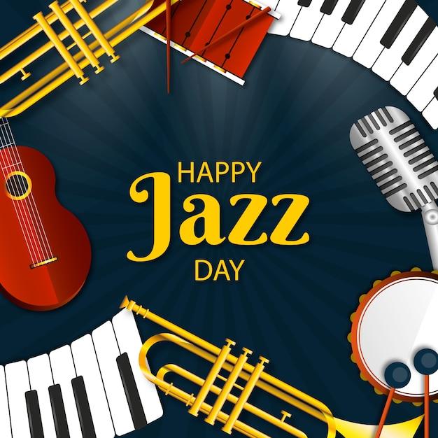 Conception Réaliste De La Bonne Journée De Jazz Vecteur gratuit