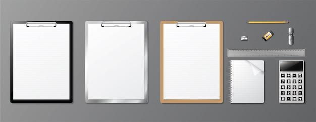 Conception réaliste de l'identité d'entreprise book and clipboard. Vecteur Premium