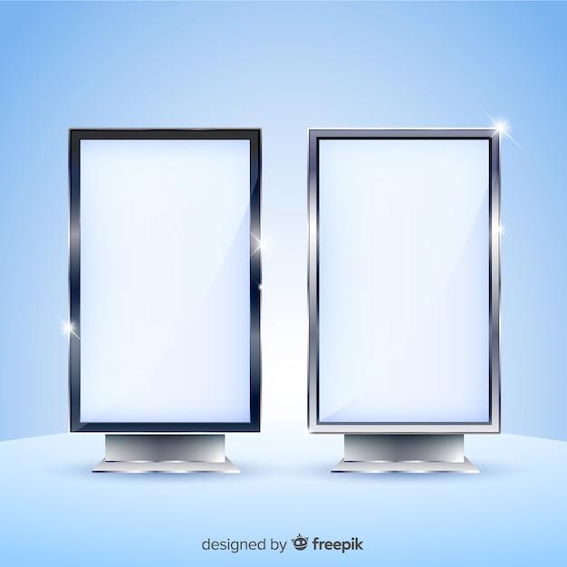 Conception Réaliste De Panneau D'affichage De Boîte à Lumière Vecteur Premium