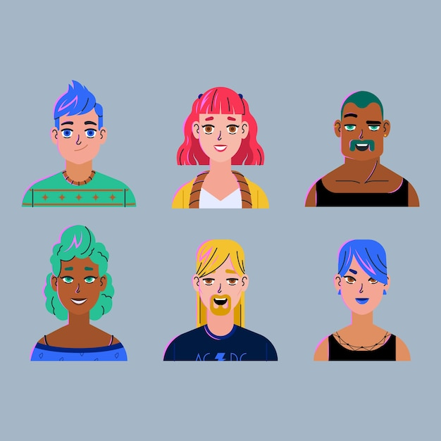 Conception Réaliste Pour Les Avatars Des Personnes Vecteur gratuit