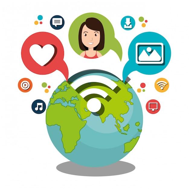 Conception de réseau social Vecteur Premium