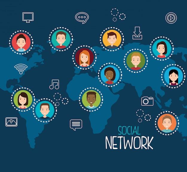 Conception de réseau social Vecteur gratuit